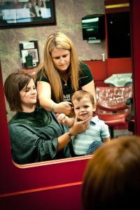 Child Haircut with Mother