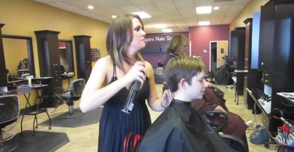 Sissy Forced Haircut in Salon